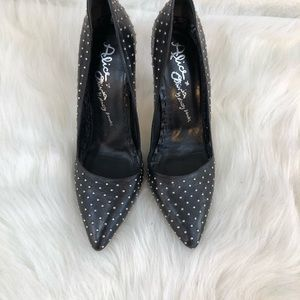 Alice + Olivia black leather studded heels